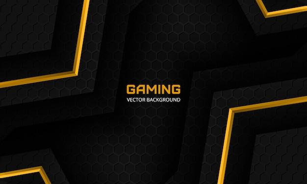 Moderne zwarte gaming achtergrond met gele hoeken zeshoek koolstofvezel raster en zwarte driehoeken