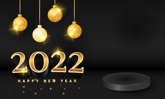Moderne zwarte luxe 2022 happy new year banner met podium product display en gouden fonkelingsbal