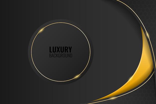 Moderne zwarte luxe achtergrond met afgeronde frame gouden lijn