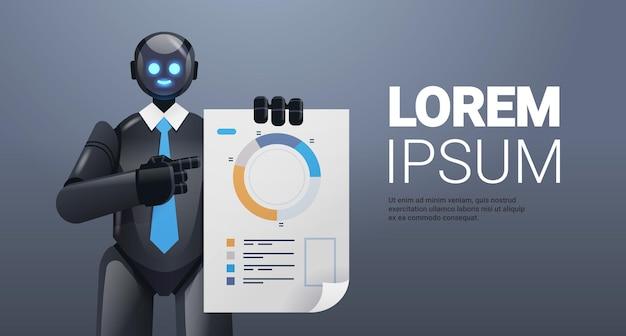 Moderne zwarte robot die statistieken analyseert diagram financiële gegevens die kunstmatige intelligentietechnologie analyseert