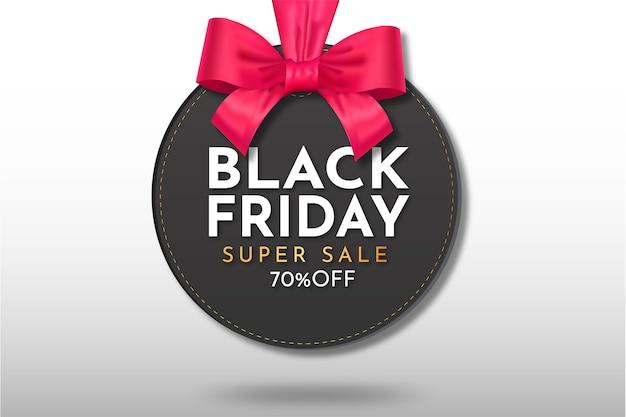 Moderne zwarte super verkoop opknoping met realistische lint sjabloon