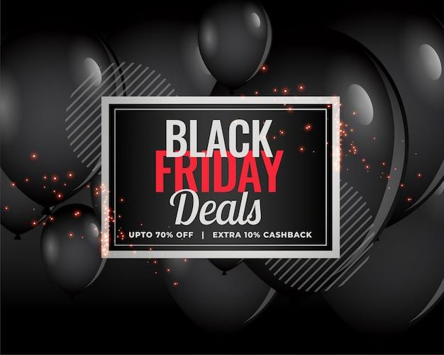 Moderne zwarte vrijdag deals ballon achtergrond