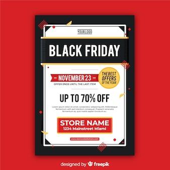 Moderne zwarte vrijdag flyer sjabloon met platte ontwerp