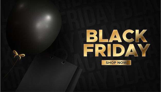 Moderne zwarte vrijdag gouden tekst met realistische zwarte ballon en boodschappentas