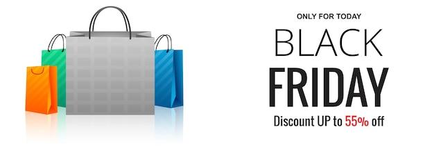 Moderne zwarte vrijdag verkoop banner met boodschappentas