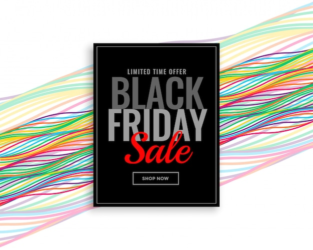 Moderne zwarte vrijdag verkoop banner met kleurrijke golvende lijnen