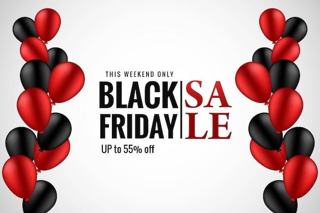 Moderne zwarte vrijdag verkoop banner met realistische ballonnen