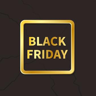 Moderne zwarte vrijdagbanner met gouden frame