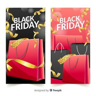 Moderne zwarte vrijdagbanners met realistisch ontwerp