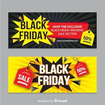 Moderne zwarte vrijdagbanners met vlak ontwerp