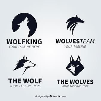 Moderne zwarte wolf logo collectio
