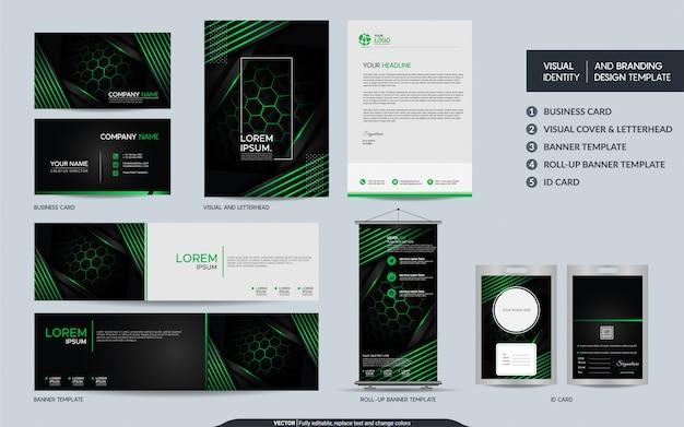 Moderne zwartgroene kantoorbehoeftenreeks en visuele merkidentiteit