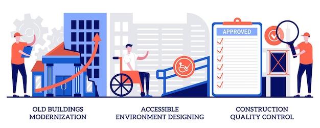 Modernisering van oude gebouwen, ontwerpen van toegankelijke omgevingen, concept voor kwaliteitscontrole van de bouw met kleine mensen. bouw en renovatie abstracte vector illustratie set. reconstructie metafoor.