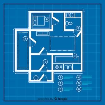 Moderplan van blauwdruk van een huis
