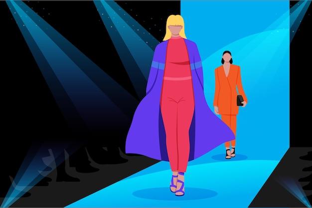 Modeshowbaan met vrouwen als modellen