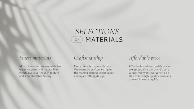Modesjabloon selectie van materiaal met bladschaduw