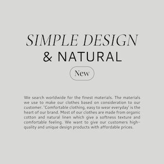 Modesjabloon voor sociale media eenvoudig en natuurlijk ontwerp