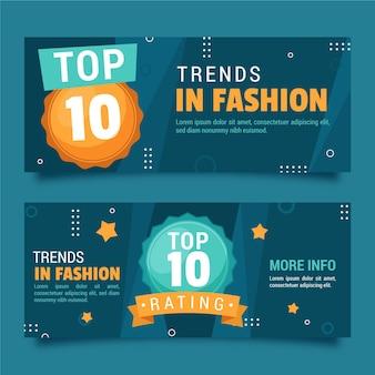 Modetrends top 10 beoordelingsbanners