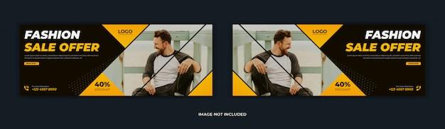 Modeverkoop biedt sociale media post facebook voorpagina tijdlijn web ad banner ontwerp