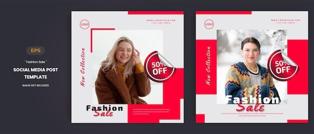 Modeverkoop sociale media post-sjablonen