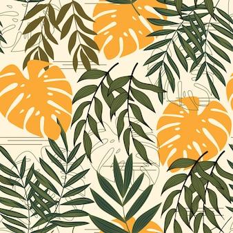 Modieus abstract naadloos patroon met tropische bladeren