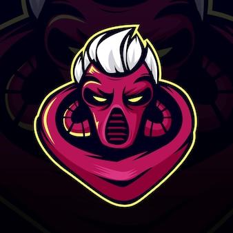 Modieus demon esport-logo en mascottespel