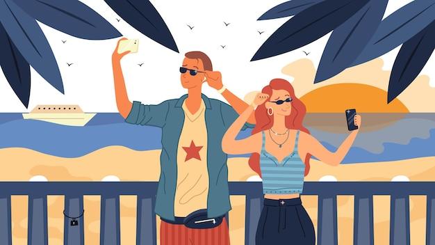 Modieus geklede jonge man en vrouw in zonnebril