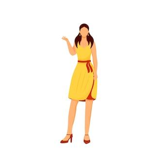 Modieus meisje egale kleur gezichtsloos karakter vrouw in feestjurk elegante outfit voor evenement vogue vrouwelijke kleding model poseren in trendy kleding glamour geïsoleerde cartoon afbeelding