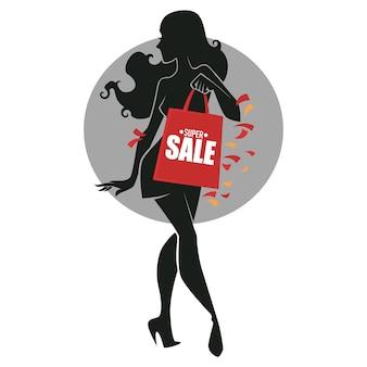 Modieus meisjessilhouet met boodschappentas, voor uw verkoopbedrijf