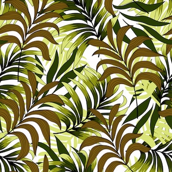 Modieus naadloos patroon met exotische planten en bladeren op zwarte achtergrond