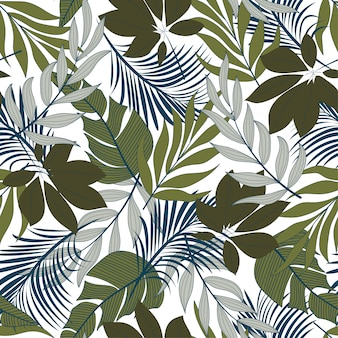 Modieus naadloos tropisch patroon met heldere blauwe en groene planten en bladeren
