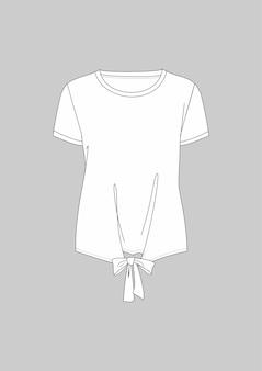 Modieus technisch t-shirt met gestrikte zoom en korte mouwen