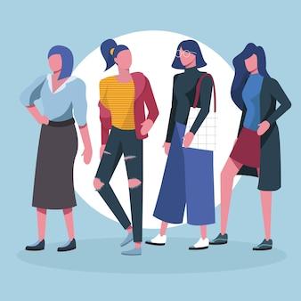 Modieuze creatieve mensen millennials karakter