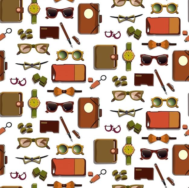 Modieuze hipster-accessoires naadloze patroon