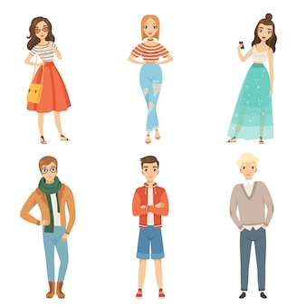 Modieuze jongens en meisjes. mannelijke en vrouwelijke stripfiguren in verschillende mode poses