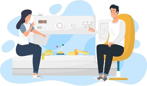 Modieuze kleding op maat maken. grote naaimachine op de achtergrond.