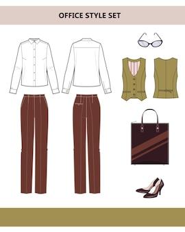 Modieuze kleding voor op kantoor. damespak voor op kantoor. broek en blouse. platte vectorillustratie op witte achtergrond.