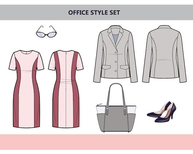 Modieuze kleding voor op kantoor. damespak voor op kantoor. jurk en jas. platte vectorillustratie op witte achtergrond.