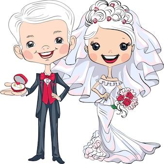 Modieuze mooie bruid met boeket en bruidegom met verlovingsring