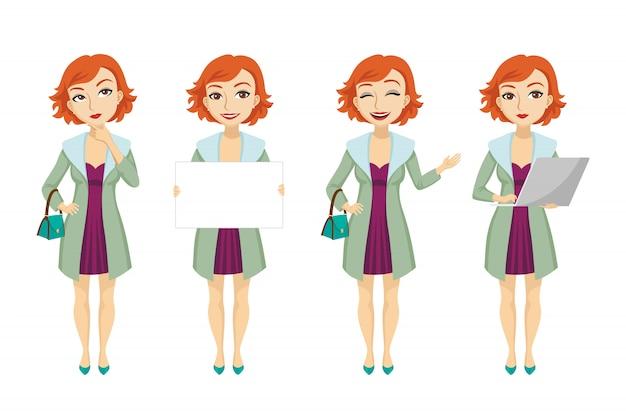 Modieuze redhead vrouw in de purpere reeks van het kledingskarakter