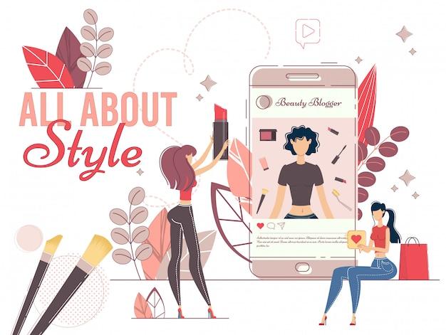 Modieuze stijl blogger in social media network