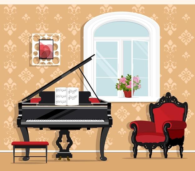 Modieuze woonkamer met piano, fauteuil, raam, bloempot, stoeltje.