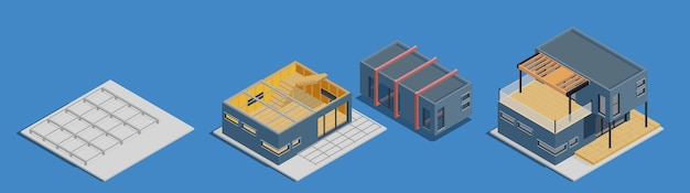 Modulaire framebouwset isometrisch