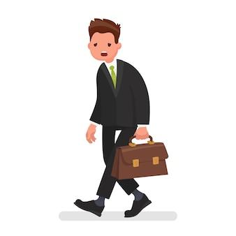 Moe kantoormedewerker. stress op het werk. concept van mislukkingen in het bedrijfsleven. in een vlakke stijl