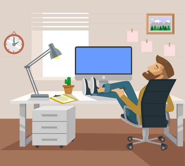Moe man kantoor werknemer karakter slapen op de werkplek