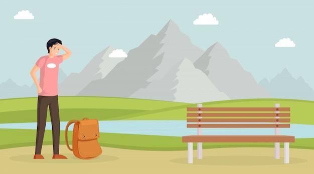 Moe man wandelen illustratie. mannelijke reiziger met rugzak, berglandschap met meer. toerist, jonge kerel met zweet op het voorhoofd, backpacker, wandelaar op aard