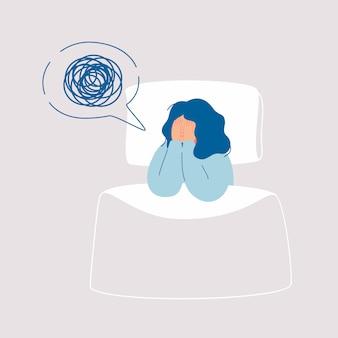 Moe vrouw lijdt aan slapeloosheid, slapeloosheid, slaapstoornis, nachtmerrie.