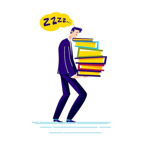 Moe zakenman bedrijf stapel documentmappen uitgeput en overbelast