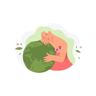 Moeder aarde concept in plat ontwerp