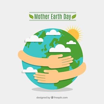 Moeder aarde dag achtergrond in platte ontwerp